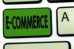 Коммерция текста e почерка Концепция знача торговые операции проведенные электронно в Интернете стоковое изображение rf