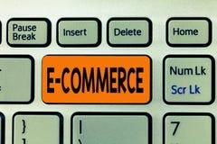 Коммерция текста e сочинительства слова Концепция дела для торговых операций проведенных электронно на интернете стоковая фотография rf
