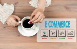 коммерция e Взгляд сверху кофейной чашки на backgroundr деревянного стола стоковое фото
