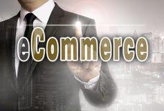 Коммерция e показана концепцией бизнесмена Стоковые Изображения