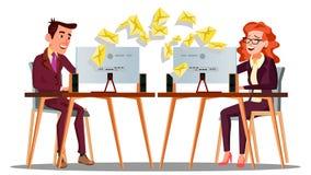 Коммерческая корреспонденция, летание конвертов на таблице вектора менеджера изолированная иллюстрация руки кнопки нажимающ женщи бесплатная иллюстрация