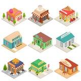 Коммерчески значки знаков 3d магазинов города установили равновеликий взгляд вектор иллюстрация вектора