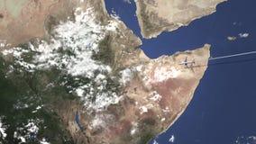 Коммерчески летание самолета к Аддис-Абеба, Эфиопии, 3D анимации сток-видео