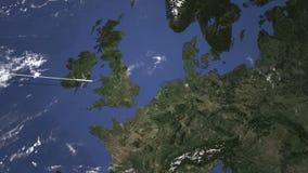Коммерчески летание самолета к Бремену, Германии 3D анимация вступления бесплатная иллюстрация
