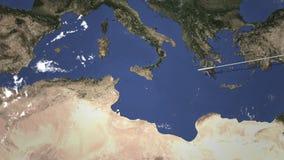 Коммерчески летание самолета к Тунису, Тунису, 3D анимации видеоматериал