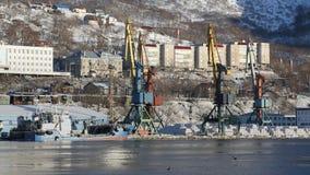 Коммерчески морской порт Петропавловск-Kamchatsky на заливе Avacha сток-видео