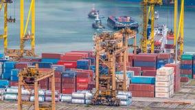 Коммерчески порт timelapse Сингапура Взгляд глаза птицы панорамный самого занятого азиатского порта груза акции видеоматериалы
