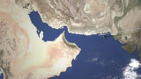 Коммерчески самолет приезжает к Абу-Даби, Объениненным Арабским Эмиратам, 3D анимации вступления иллюстрация штока