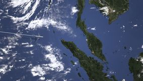 Коммерчески самолет приезжает к городку Джордж, Малайзии, 3D анимации вступления сток-видео