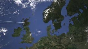 Коммерчески самолет приезжает к Гётеборгу, Швеции, 3D анимации вступления иллюстрация штока
