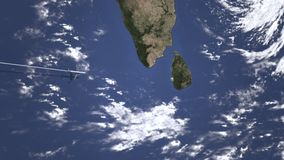 Коммерчески самолет приезжает к Коломбо, Шри-Ланка, 3D анимации вступления акции видеоматериалы
