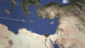 Коммерчески самолет приезжает к Лимасолу, Кипру, 3D анимации вступления бесплатная иллюстрация