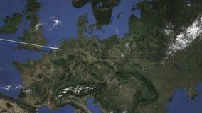 Коммерчески самолет приезжает к Лодз, Польше, 3D анимации вступления иллюстрация вектора
