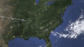 Коммерчески самолет приезжает к Шарлотта, Соединенным Штатам, 3D анимации вступления иллюстрация вектора