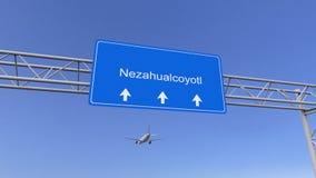 Коммерчески самолет приезжая к авиапорту Nezahualcoyotl Путешествовать к мексиканському схематическому переводу 3D Стоковая Фотография