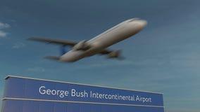 Коммерчески самолет принимая на анимацию 4K авиапорта 3D Джорджа Буша междуконтинентальную схематическую акции видеоматериалы