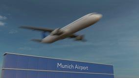 Коммерчески самолет принимая на анимацию 4K авиапорта 3D Мюнхена схематическую видеоматериал