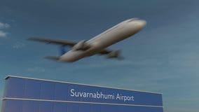 Коммерчески самолет принимая на анимацию 4K авиапорта 3D Suvarnabhumi схематическую сток-видео