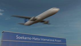 Коммерчески самолет принимая на анимацию 4K международного аэропорта 3D Soekarno-Hatta схематическую акции видеоматериалы