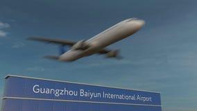 Коммерчески самолет принимая на анимацию 4K международного аэропорта 3D Гуанчжоу Baiyun схематическую акции видеоматериалы
