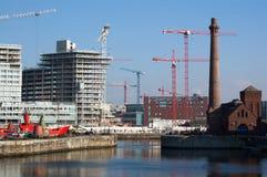 Коммерчески строительная площадка в Ливерпуле, Англии Стоковое Фото