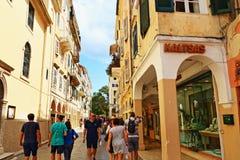 Коммерчески улица Корфу Греция Стоковая Фотография