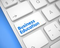 Коммерческое образование - текст на белой кнопке клавиатуры 3d иллюстрация штока