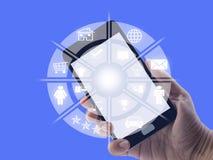 Коммуникационная сеть мобильного телефона и точек онлайн стоковое фото