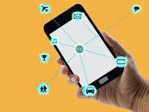 Коммуникационная сеть мобильного телефона и точек онлайн стоковое изображение rf