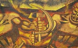 коммунистическая настенная роспись эры стоковые изображения rf