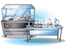 Комната лаборатории иллюстрации вектора шаржа внутренняя с отделенными слоями Стоковое Изображение