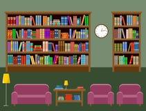 Комната библиотеки Интерьер Книги Стоковые Изображения