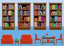 Комната библиотеки Интерьер Книги Стоковые Изображения RF