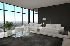 Комната внушительной современной просторной квартиры живущая | Интерьер архитектуры Стоковое Изображение RF