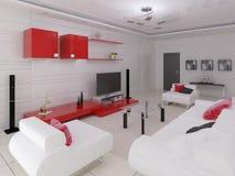 комната Высок-техника живущая с современной функциональной мебелью Стоковое Изображение