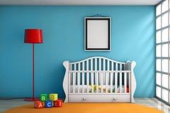 Комната детей с кроватью, лампой и пустой рамкой фото Стоковая Фотография