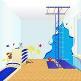 Комната детей с кроватью и комодом ящиков бесплатная иллюстрация