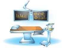 Комната деятельности хирургии иллюстрации вектора шаржа внутренняя с отделенными слоями Стоковая Фотография