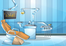 Комната деятельности хирургии иллюстрации вектора шаржа внутренняя с отделенными слоями Стоковые Фото