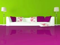 комната зеленого интерьера конструкции живя самомоднейшая Стоковые Изображения