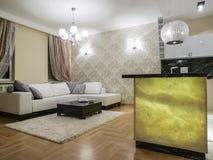 комната изображения 3d нутряная живущая Стоковое Фото