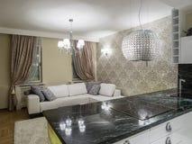комната изображения 3d нутряная живущая Стоковое Изображение