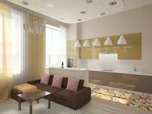 комната изображения 3d нутряная живущая стоковая фотография rf