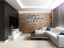 комната интерьера живя самомоднейшая Стоковое Изображение