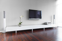 комната интерьера живя самомоднейшая стоковые изображения rf