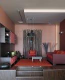 комната интерьера конструкции живя самомоднейшая Стоковая Фотография