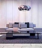 комната интерьера конструкции живя самомоднейшая Стоковые Фотографии RF