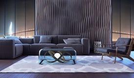 комната интерьера конструкции живя самомоднейшая стоковое фото rf