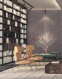 комната интерьера конструкции живя самомоднейшая Стоковое Изображение RF