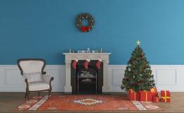Комната и рождественская елка рождества живущая бесплатная иллюстрация